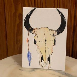 Boho bull skull painting